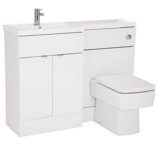 Elite White Gloss 1200mm Combination Furniture Pack - Left Hand